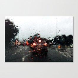 Rain drops close up from a car Canvas Print