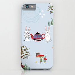 Alice's Adventures in wonderland pattern blue background iPhone Case