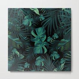 Tropical Jungle Night Leaves Pattern #1 (2020 Edition) #tropical #decor #art #society6 Metal Print