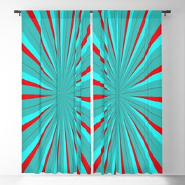 SPARKLE NEON AQUA TURQUOISE RED circle rays beams triangles Angelis Blackout Curtain