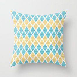Geometric pattern with striped rhombus in blue and yellow palette Throw Pillow