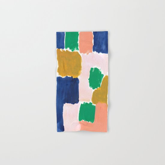 Shel - abstract painting boho modern bright minimal color palette gender neutral dorm college decor Hand & Bath Towel