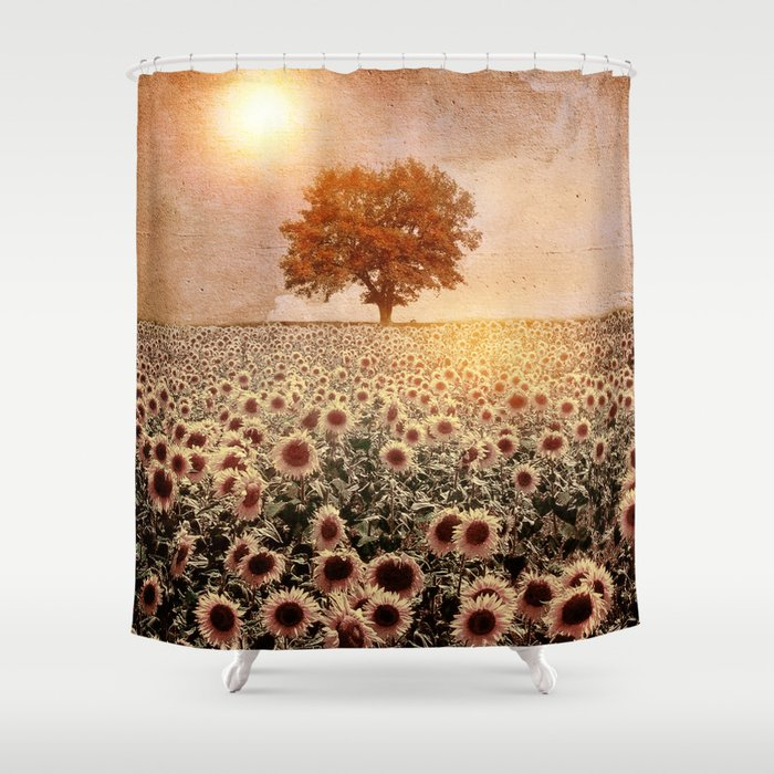 lone tree & sunflowers field (colour option) Shower Curtain
