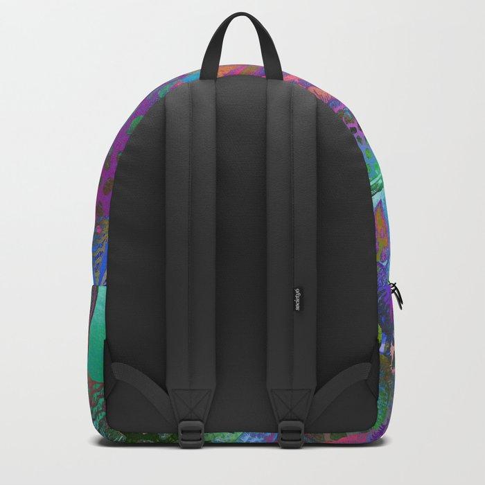 Seashells. Watercolor textured pattern. Backpack