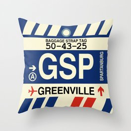 GSP Greenville-Spartanburg • Airport Code and Vintage Baggage Tag Design Throw Pillow
