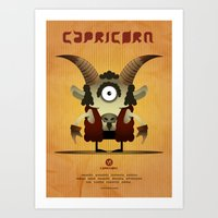 capricorn Art Prints featuring CAPRICORN by Angelo Cerantola