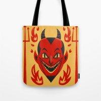 diablo Tote Bags featuring El Diablo by John Clark IV
