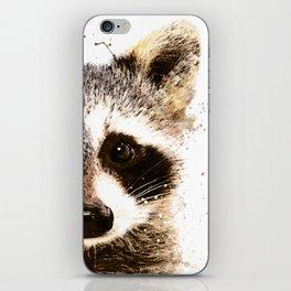 Raccoon Watercolor Print, Woodland Animal Print, Raccoon Wall Art iPhone Skin