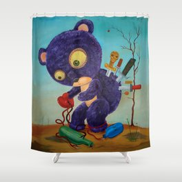 purple spirals downward Shower Curtain