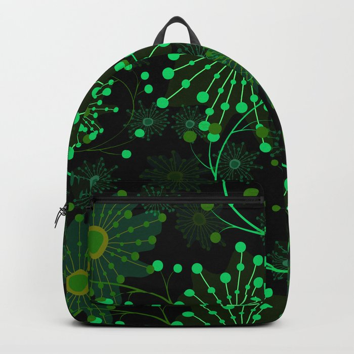 Black and green abstract pattern . Backpack