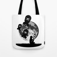 bombs away Tote Bags featuring Bubbles and Bombs Away (Etching Sketch) by kamonkey