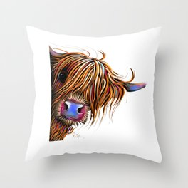 HiGHLaND CoW PRiNT SCoTTiSH ' SuGaR LuMP ' BY SHiRLeY MacARTHuR Throw Pillow