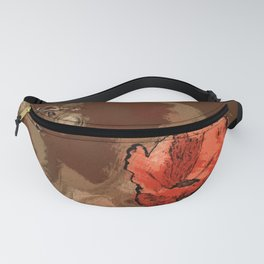 Poppy flower illustration, red graphic, floral print Fanny Pack