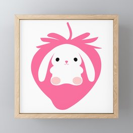 Mei the Strawberry Rabbit Framed Mini Art Print