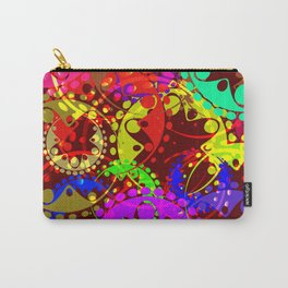 Texture of bright colorful gears and laurel wreaths in kaleidoscope style on a dark red background. Carry-All Pouch