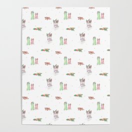 Christmas Boots Pattern Poster