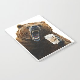 """ Grizzly Mornings "" give that bear some coffee Notebook"