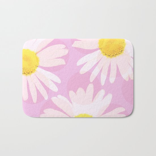 Flowers and dots on a pink background - lovely summery - #daisy #society6 #buyart Bath Mat