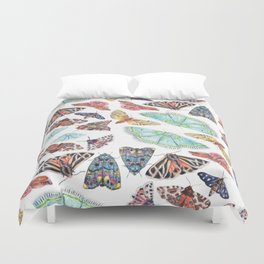 Nature Illustration of Moths Duvet Cover