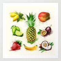 fruits Art Prints featuring fruits by Zazie-bulles