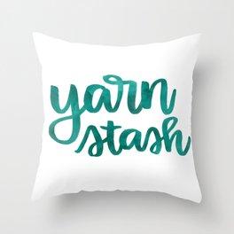 Yarn Stash - Teal Throw Pillow