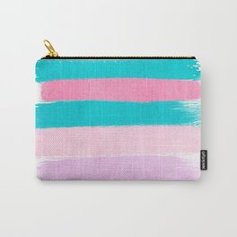 Stripes turquoise pink bright pink pastels beach spring summer trendy color palettes Carry-All Pouch