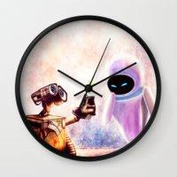 wall e Wall Clocks featuring Wall-e by p1xer