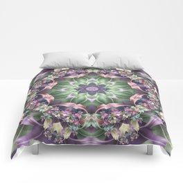 Fractal Ribbon Mandala in Purple, Green, Pink and Yellow Comforters