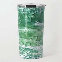 Sea green streaked watercolor pattern Travel Mug