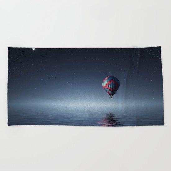 Hot Air Balloon Reflection Beach Towel