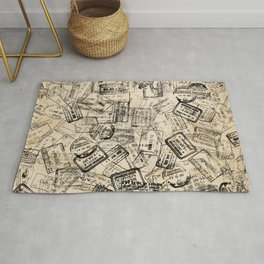 Passport Stamps Collage Print Rug