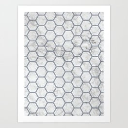Honeycomb Marble Navy #871 Art Print