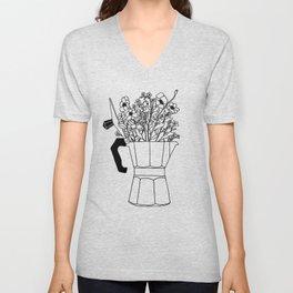 Moka Flowers - Coffee- BW Unisex V-Neck