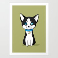 husky Art Prints featuring Husky by Freeminds