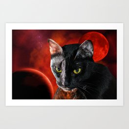 Black Cat and Planet Art Print