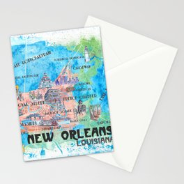 New Orleans Louisiana Illustrated Map with Main Roads Landmarks and Highlights Stationery Cards