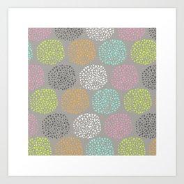 Flowers-triangles Art Print
