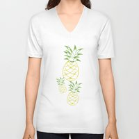 pineapple V-neck T-shirts featuring Pineapple by Tanya Thomas