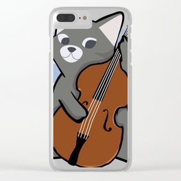 Upright Bass Playing Cool Jazz Cat T-Shit For Bopping Musos Clear iPhone Case