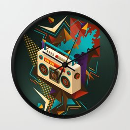 Bust Out The Jams Retro 80s Boombox Splash Wall Clock