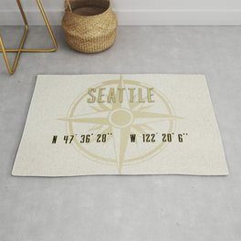 Seattle - Vintage Map and Location Rug