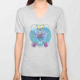 Angel Kitty (Turquoise) Unisex V-Neck