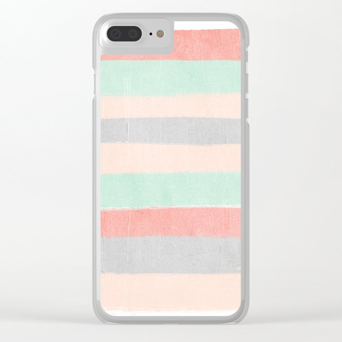 Stripes hand painted abstract minimal nursery decor gender neutral palette Clear iPhone Case