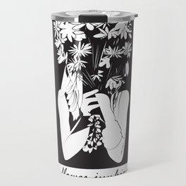 Flower Junkie - Black and White Digital Drawing of Girl holding Flowers Travel Mug