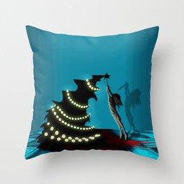 BLACK XMAS: Decorating the Christmas Tree Throw Pillow