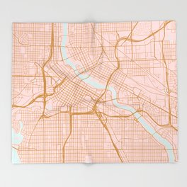 Minneapolis map, Minnesota Throw Blanket