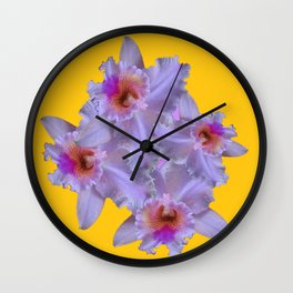 WHITE-PURPLE ORCHIDS YELLOW GARDEN Wall Clock