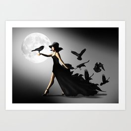 The woman with the ravens Art Print