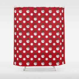 Snowman Snowflakes pattern Christmas decorations retro colors dark red background Shower Curtain