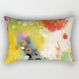 abstract floral art in yellow green and rose magenta colors Rectangular Pillow